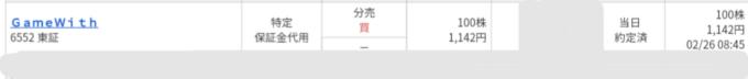 GameWith(6552)立会外分売 マネックス証券から当選