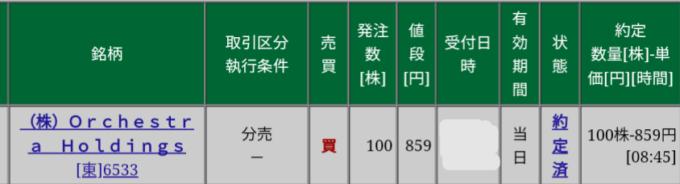 Orckestra HD(6533)立会外分売 松井証券から当選