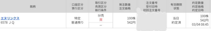 エヌリンクス(6578)立会外分売 マネックス証券から当選