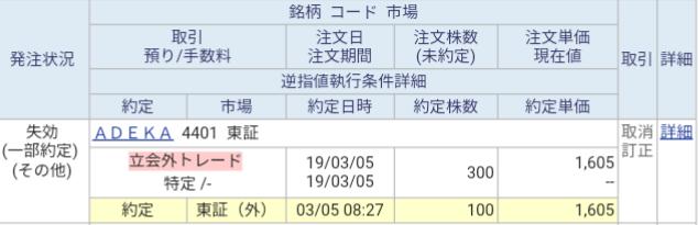 ADEKA(4401)立会外トレード当選