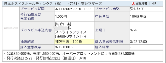 日本ホスピスHD(7061)IPO SBI証券から補欠当選