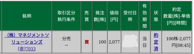 マネジメントソリューションズ(7033)立会外分売 松井証券から当選