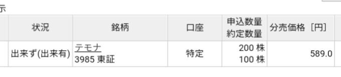 テモナ(3985)立会外分売 楽天証券から当選