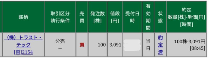 トラスト・テック(2154)立会外分売 松井証券から当選