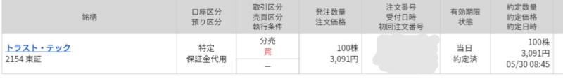 トラスト・テック(2154)立会外分売 マネックス証券から当選