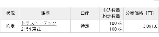トラスト・テック(2154)立会外分売 楽天証券から当選