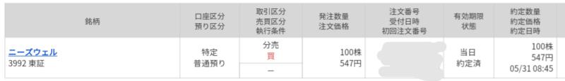 ニーズウェル(3992)立会外分売 マネックス証券から当選