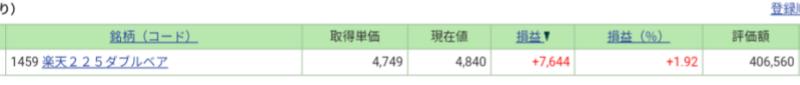 SBI証券 ダブルベア ナンピン投資
