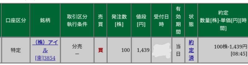 アイル(3854)立会外分売 松井証券から当選