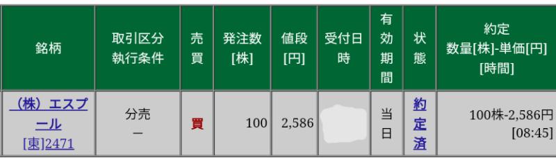 エスプール(2471)立会外分売 松井証券から当選