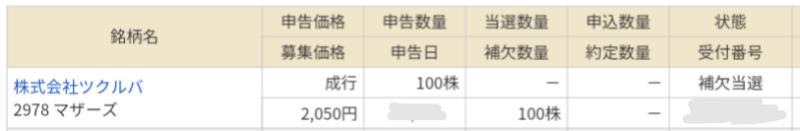 ツクルバ(2978)IPOマネックス証券から補欠当選