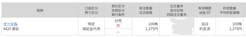 イーソル(4420)立会外分売 マネックス証券から当選