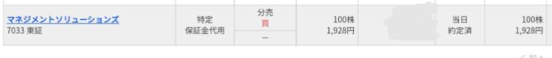 マネジメントソリューションズ(7033)立会外分売 マネックス証券から当選