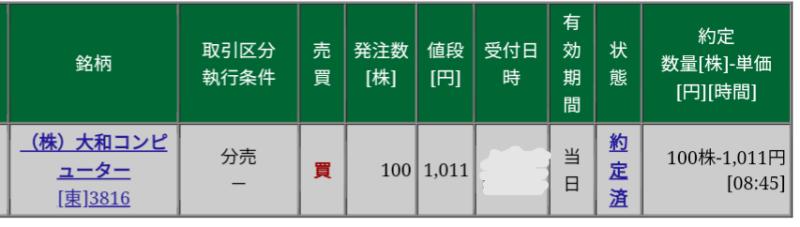 大和コンピューター(3816)立会外分売 松井証券から当選