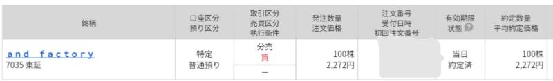 and factory(7035)立会外分売 マネックス証券から当選
