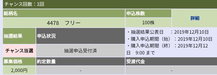 フリー(4478) 大和証券からチャンス当選