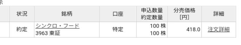 シンクロ・フード(3963)立会外分売 楽天証券から当選