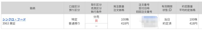 シンクロ・フード(3963)立会外分売 マネックス証券から当選