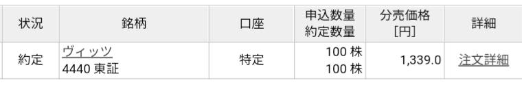 ヴィッツ(4440)立会外分売 楽天証券から当選