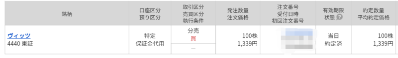 ヴィッツ(4440)立会外分売 マネックス証券から当選