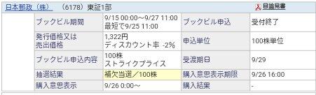 日本郵政(6178)PO補欠当選