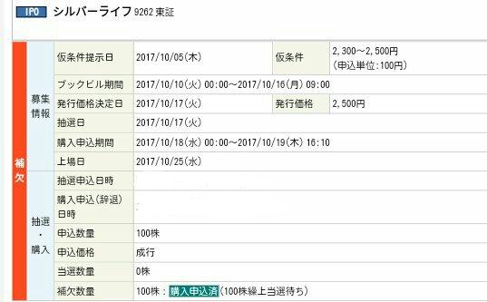 シルバーライフ(9262)丸三証券補欠当選