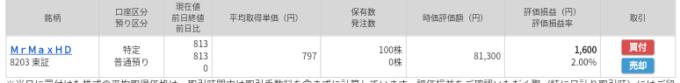 MrMaxHD(8203)マネックス証券から当選