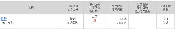 マネックス証券、日伝(9902)分売結果