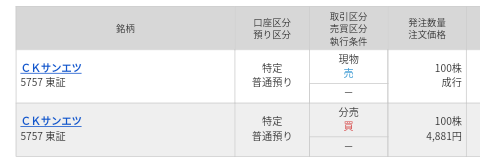 CKサンエツ(5757)立会外分売 マネックス証券から当選