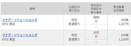 ツナグ・ソリューションズ(6551)マネックス証券から当選