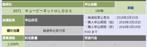キュービーネットHD(6571)大和証券から補欠当選
