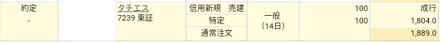 タチエス(7239)楽天証券で株主優待タダ取り