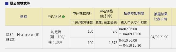 Hamee(3134)みずほ証券から繰上当選