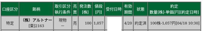 アルトナー(2163)松井証券から売却