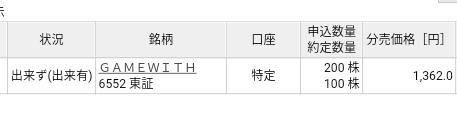 GAME WITH(6552)楽天証券から当選