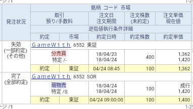 GAME WITH(6552)SBI証券から当選