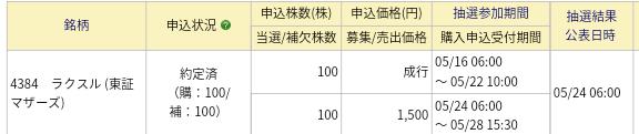 ラクスル(4384)IPO みずほ証券から繰上当選