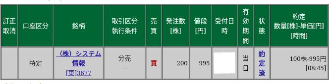システム情報(3677)松井証券から当選