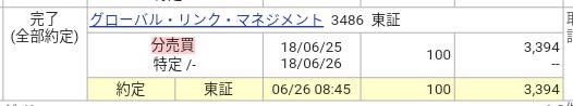 グローバル・リンク・マネジメント(3486)立会外分売
