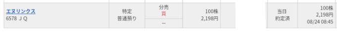 エヌリンクス(6578)立会外分売マネックス証券から当選