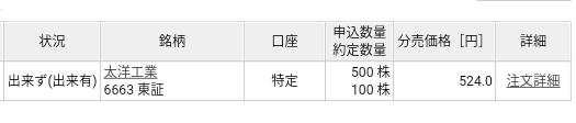 太洋工業(6663)立会外分売 楽天証券から当選