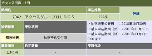 アクセスグループ・ホールディングス(7042)大和証券から補欠当選