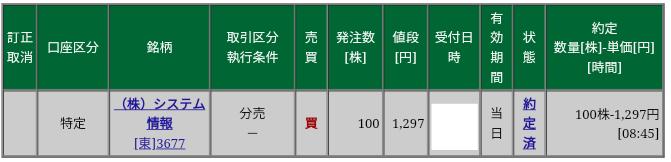 システム情報(3677)立会外分売、松井証券から当選
