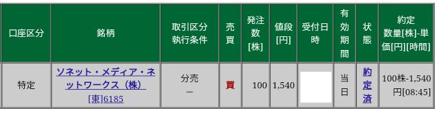 ソネット・メディア・ネットワークス(6185)立会外分売 松井証券から当選