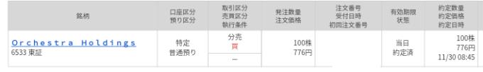 Orchestra HD(6533)立会外分売 マネックス証券から当選