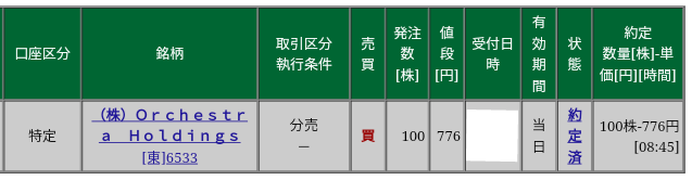 Orchestra HD(6533)立会外分売 松井証券から当選