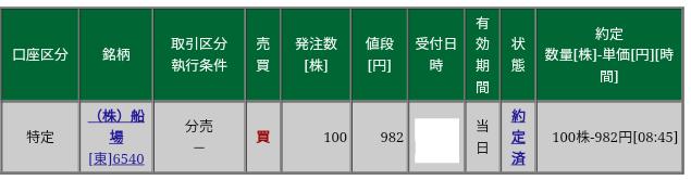 船場(6540)立会外分売 松井証券から当選