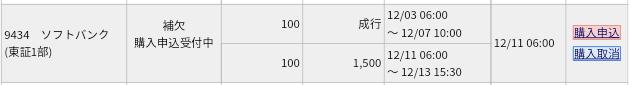 ソフトバンク(9434)IPO みずほ証券から補欠当選