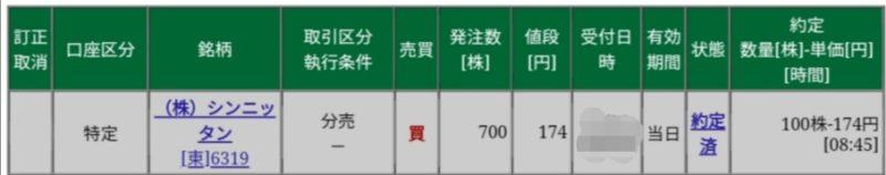 シンニッタン(6319)分売松井証券から当選