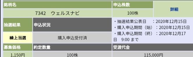 ウェルスナビ(7342)IPO大和証券から当選